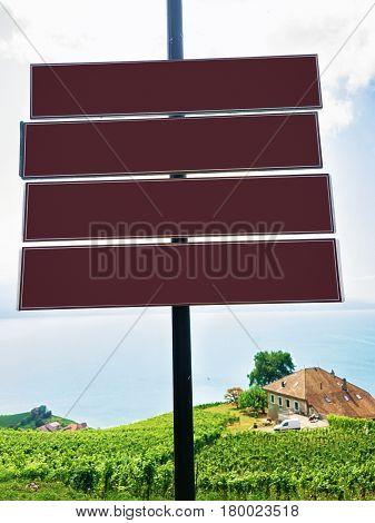 Direction Plates On Vineyard Terraces Trail Of Lavaux Switzerland