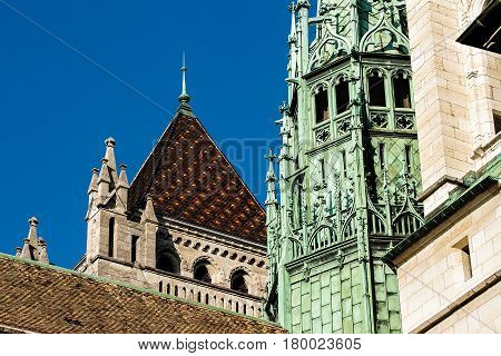 Fragment Of St Pierre Cathedral In Old Town In Geneva