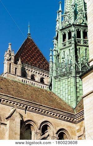 Fragment Of St Pierre Cathedral In Old Town Geneva