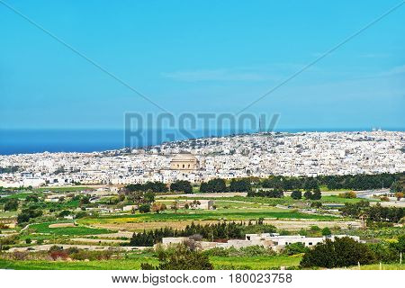 Mosta skyline with Rotunda and the old city seen from Rabat Malta