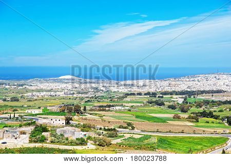 Panorama city of Mdina in spring Malta