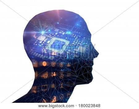 Double Exposure Image Of Low Polygon Human Head 3D Illustration