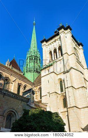 Spire Of St Pierre Cathedral In Old Town Geneva