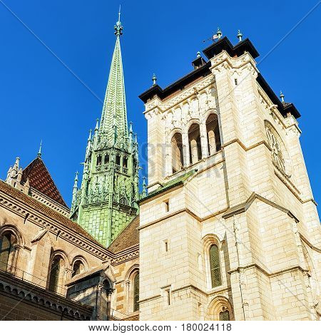 Steeple Of St Pierre Cathedral In Old Town Geneva