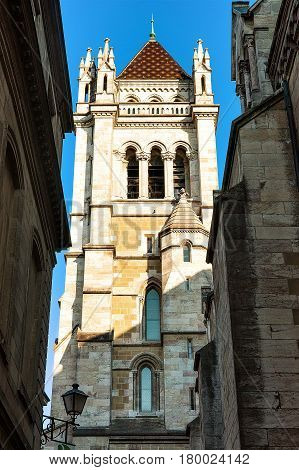 Street And Tower Of St Pierre Cathedral In Geneva