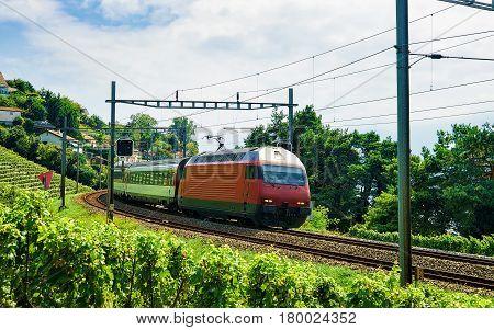 Train And Railroad On Lavaux Vineyard Terrace