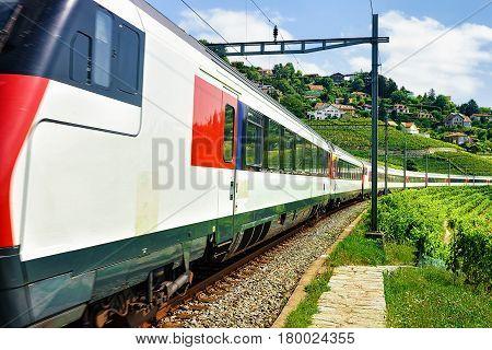 Train And Railroad On Lavaux Vineyard Terraces