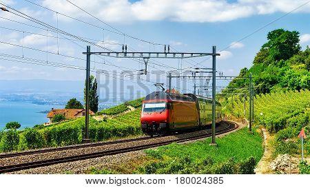 Train At Railroad At Lavaux Vineyard Terrace Lake Geneva Alps