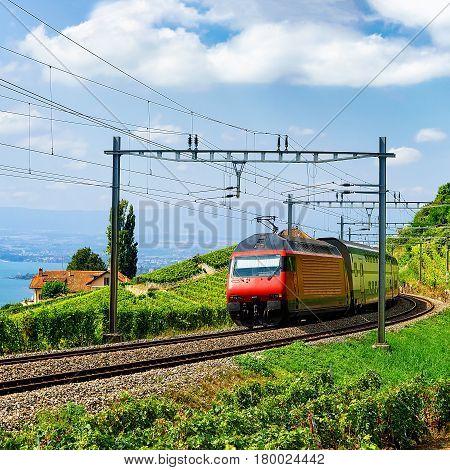 Train At Railroad On Lavaux Vineyard Terrace Lake Geneva Alps