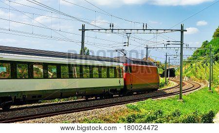 Train On Railroad At Lavaux Vineyard Terrace