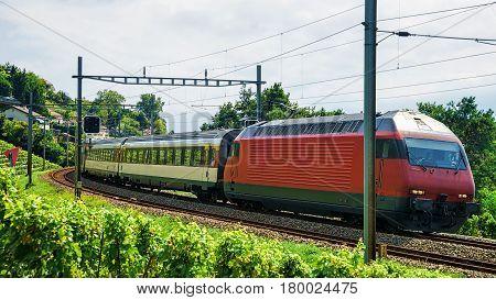 Train On Railroad At Lavaux Vineyard Terraces