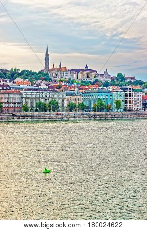 Buda With Steeple Of Matthias Church And Danube River Budapest