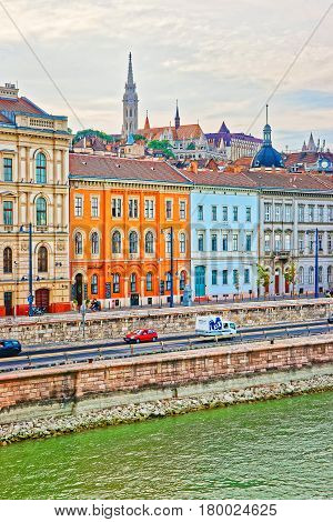 Buda With Steeple Of Matthias Church At Danube River Budapest