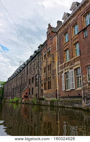 Buildings On Graslei And Korenlei Over Lys River Canal Ghent