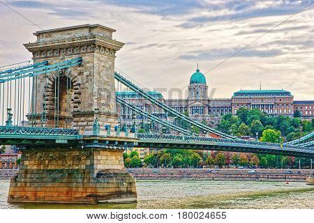 Chain Bridge Above Danube River And Buda Castle In Budapest