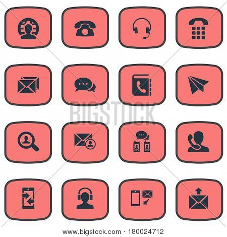 Vector Illustration Set Of Simple Contact Icons. Elements Posting, New-Come Letter, Earpiece And Other Synonyms Mailing, Calling And Send.