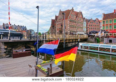 Embankment On Korenlei And Graslei Canal In Gent