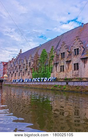 Guild Halls On Graslei And Korenlei At Lys Canal Ghent