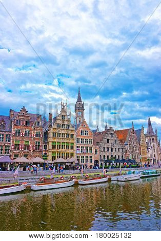 Guildhalls And Clock Tower In Graslei In Ghent