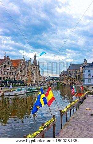 Guildhalls And St Michael Bridge In Graslei In Gent