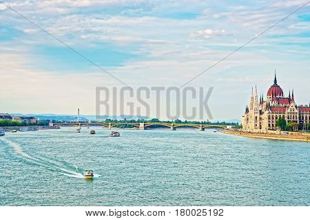 Hungarian Parliament Building At Danube River In Budapest