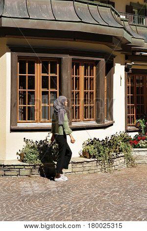 Muslim Girl At City Center Of Zermatt In Summer