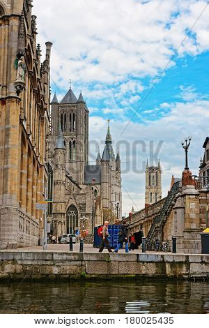 Post Office St Nicholas Church Belfry St Bavo Cathedral Ghent