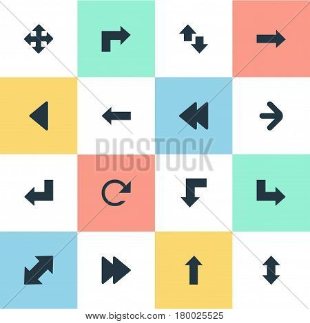 Vector Illustration Set Of Simple Indicator Icons. Elements Left Direction , Left Landmark , Right Leading Arrow Synonyms Refresh, Downwards And Left.