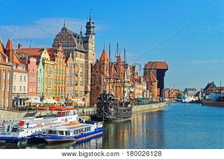 Ferry Boats At Waterside Of Motlawa River In Gdansk