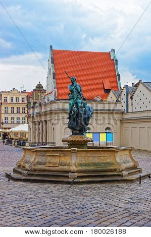 Fountain Of Neptune On Old Market Square In Poznan