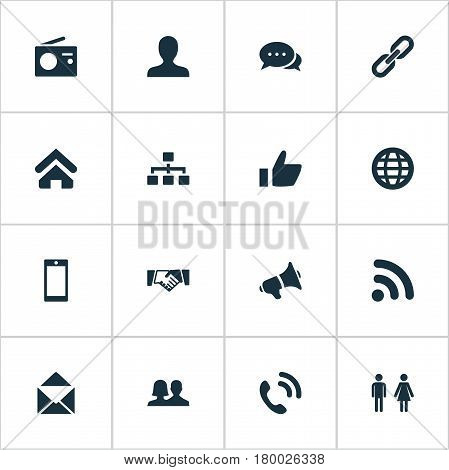 Vector Illustration Set Of Simple Transmission Icons. Elements Walkie, Handshake, Partnership Synonyms Signal, Couple And Structure.