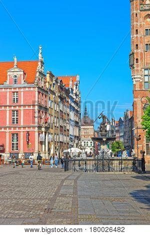 Neptune Statue On Long Market Square In Gdansk