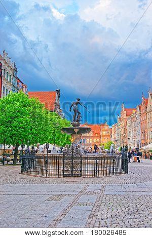 Neptune Statue On Long Market Square Of Gdansk
