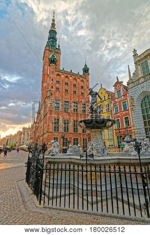 Neptune Fountain At Old City Hall And Dlugi Square Gdansk