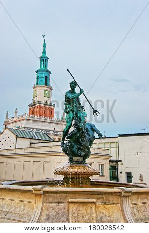 Neptune Fountain In Old Market Square Of Poznan