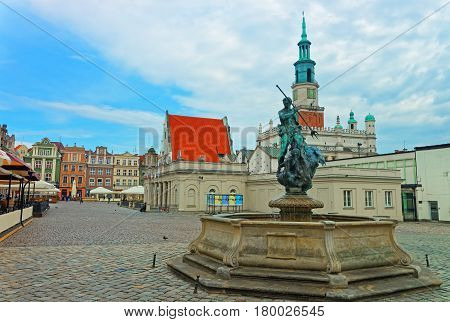 Neptune Fountain In Old Market Square In Poznan