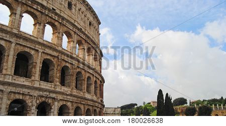 Beautiful sunny day in Rome with historical landmarks,  Europe,abroad,adventure,amphitheater,ancient,architecture,art,blue,build,building,classical,clouds,colosseum,famous,historical,history,italia,italy,landmark,roma,rome,sky,stone,theatre,tour,tourism,t