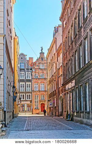 People At Historical Building Old Town Of Gdansk