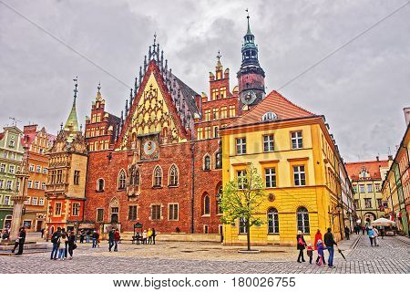People At Old Town Hall Of Market Square In Wroclaw