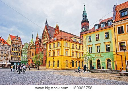 People At Old Town Hall Of Market Salt Square Wroclaw