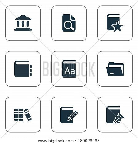 Vector Illustration Set Of Simple Books Icons. Elements Journal, Alphabet, Library And Other Synonyms Academy, Library And Literature.