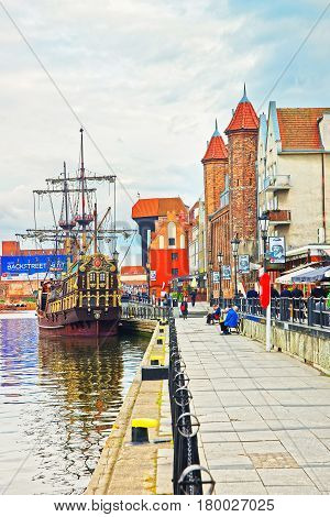 Ship At Medieval Port Crane Zuraw And Motlawa River Gdansk