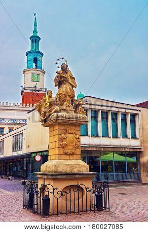 Statue Of St John Nepomuk On Market Square Of Poznan