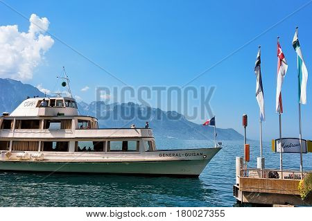 Excursion Ferry With People At Geneva Lake Of Montreux