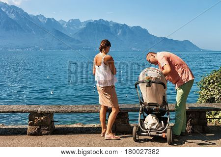 Family At The Embankment Of Geneva Lake In Montreux