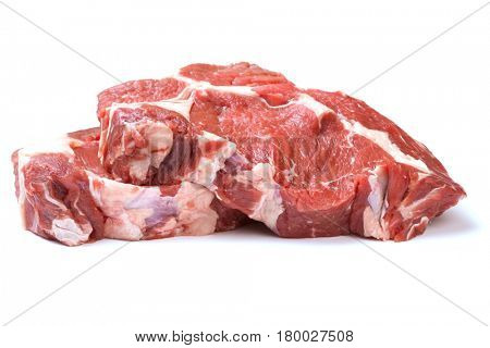 Raw beef steaks isolated on white