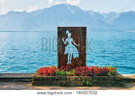 Figure Of Woman At Geneva Lake In Montreux