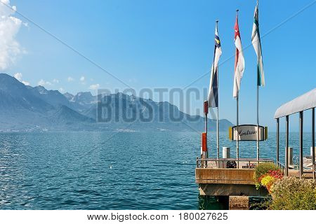 Montreux Switzerland - August 27 2016: Landing stage on Geneva Lake in Montreux Vaud canton Switzerland