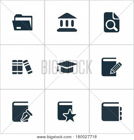 Vector Illustration Set Of Simple Books Icons. Elements Magnifying Glass, Documents, Document Archive And Other Synonyms Search, Folder And Document.