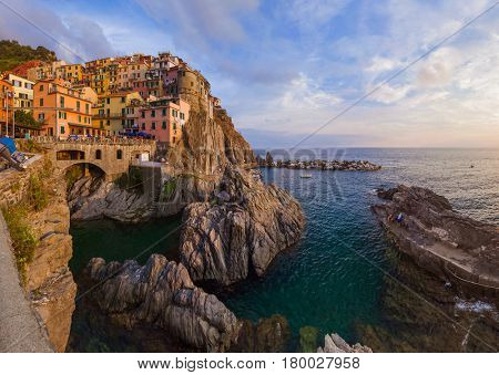 Manarola in Cinque Terre - Italy - architecture background